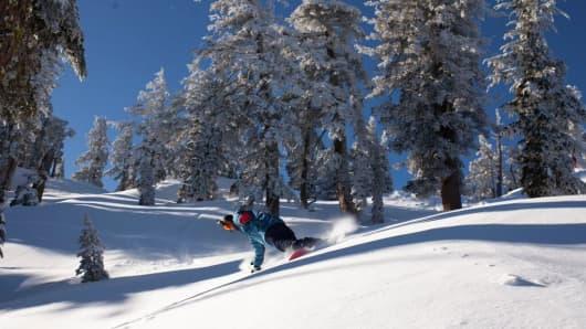 Fresh powder snow at ski resort last week in N. Lake Tahoe, CA